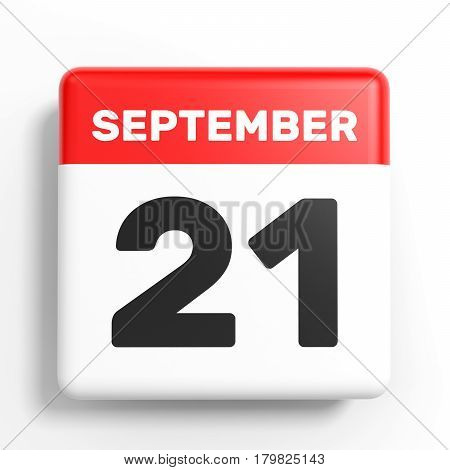 September 21. Calendar On White Background.