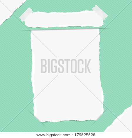 Torn white blank note, copybook, notebook sheet inserted into green striped background with white ripped paper in corners.