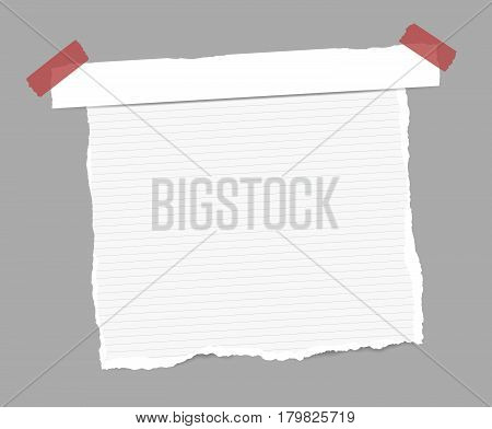 Torn white ruled note, copybook, notebook sheet, stuck paper strip with red sticky tape.