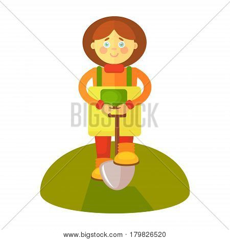 A flat gardener girl in a yellow apron stands with a shovel. A cloud is displayed for dialog with the ready text