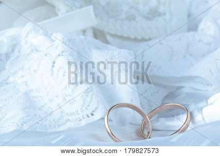 Wedding Dress Close Up. White Wedding Dress With Lace