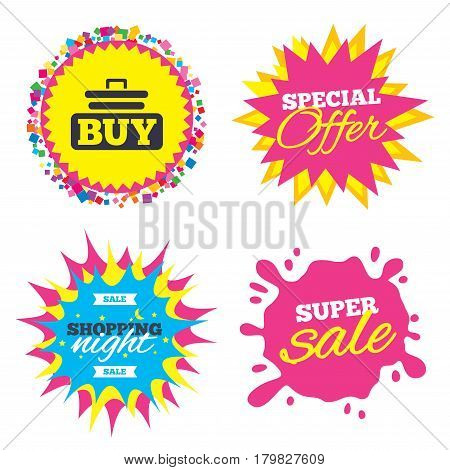 Sale splash banner, special offer star. Buy sign icon. Online buying cart button. Shopping night star label. Vector