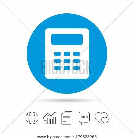 Calculator sign icon. Bookkeeping symbol. Copy files, chat speech bubble and chart web icons. Vector