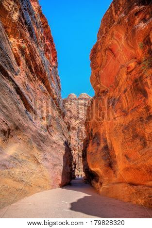 Road inside the Siq Canyon at Petra - Jordan