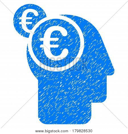 Grunge Euro Businessman Intellect rubber seal stamp watermark. Icon symbol with grunge design and dirty texture. Unclean vector blue sign.