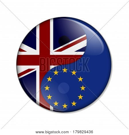 Britain and EU working together The British flag and European Union flag on a yin yang symbol isolated over white 3D Illustration