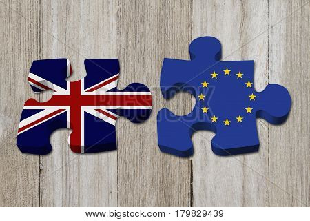 Relationship between the Britain and EU Two puzzle pieces with the flags of Britain and EU on weathered wood 3D Illustration