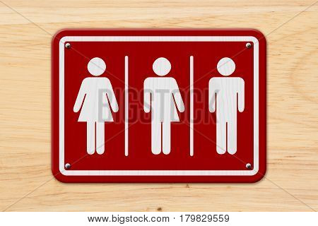 All inclusive transgender sign Red and white sign with a woman a transgender and man symbol on wood 3D Illustration
