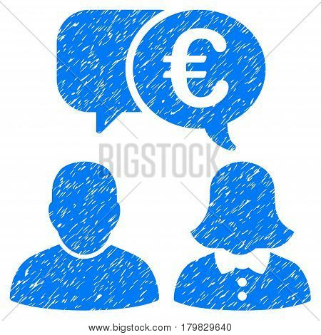Grunge Euro Chat rubber seal stamp watermark. Icon symbol with grunge design and dirty texture. Unclean vector blue sign.