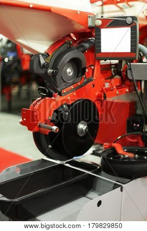 Pneumatic seed drill on agricultural exhibition