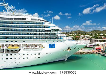 Beautiful Large Luxury Cruise Ship At Moorage St. John, Antigua
