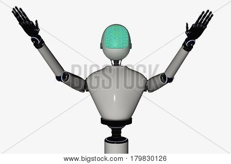 A robot displaying a binary code (3d rendering)