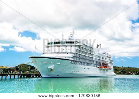 Big Cruise Ship, White Luxury Yacht In Sea Port, Antigua