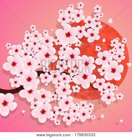 Realistic sakura japan cherry branch vector illustration