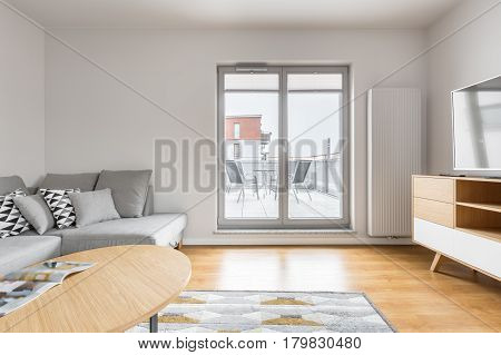 Bright Living Room With Balcony