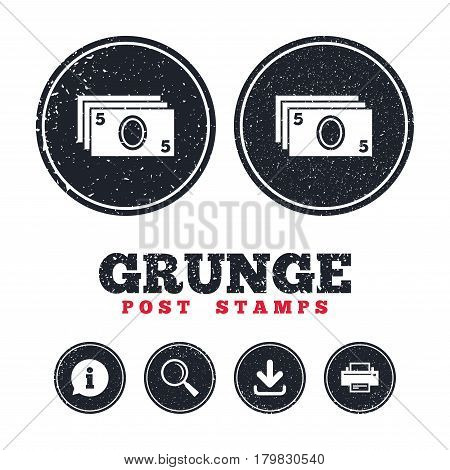 Grunge post stamps. Cash sign icon. Paper money symbol. For cash machines or ATM. Information, download and printer signs. Aged texture web buttons. Vector