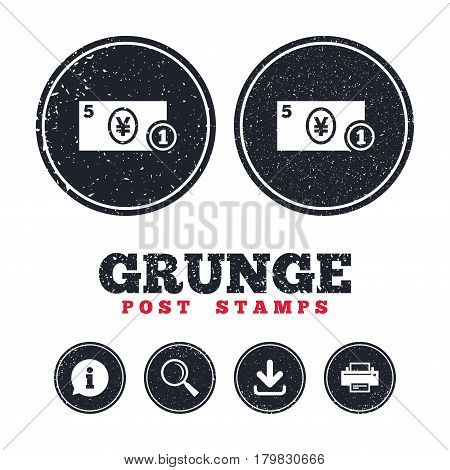 Grunge post stamps. Cash sign icon. Yen Money symbol. JPY Coin and paper money. Information, download and printer signs. Aged texture web buttons. Vector