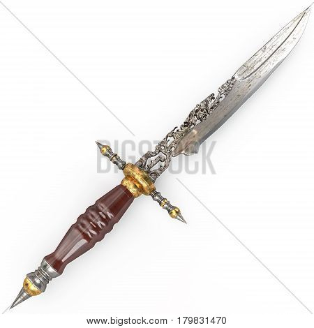 Old dagger vintage carved rare and isolated on white.