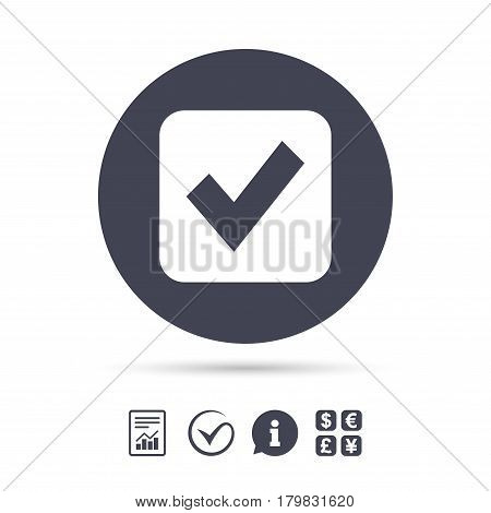 Check mark sign icon. Checkbox button. Report document, information and check tick icons. Currency exchange. Vector