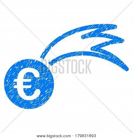Grunge Euro Falling Meteor rubber seal stamp watermark. Icon symbol with grunge design and dust texture. Unclean vector blue sticker.