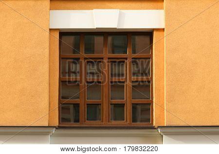 Vintage building with plastic window
