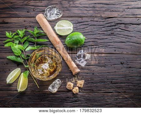 Mojito cocktail ingredients. Top view.
