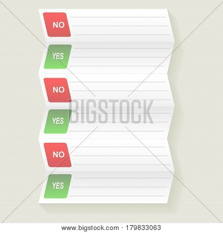 Notebook with to do list. Checklist for note. Consent. Election and voting