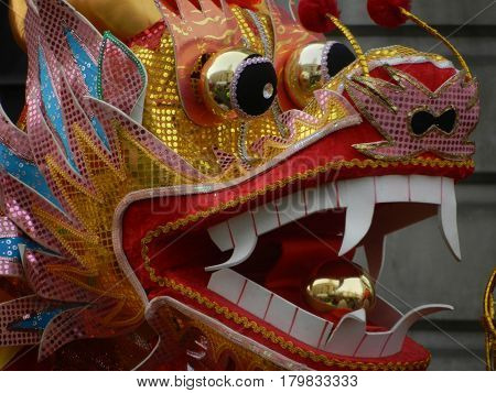 Chinese Dragon head on new year parade