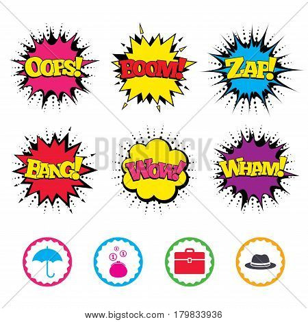 Comic Wow, Oops, Boom and Wham sound effects. Clothing accessories icons. Umbrella and headdress hat signs. Wallet with cash coins, business case symbols. Zap speech bubbles in pop art. Vector