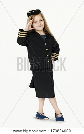 Young caucasian girl in the air hostess uniform
