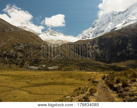The path that leads to Lake 69, in the Cordillera Blanca, Peru, with the snowcapped Chacraraju in the background.