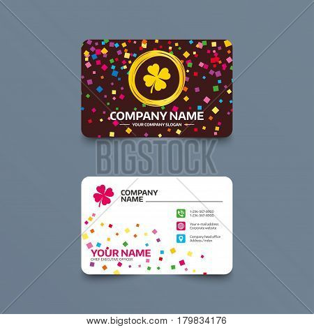 Business card template with confetti pieces. Clover with four leaves sign icon. Saint Patrick symbol. Phone, web and location icons. Visiting card  Vector