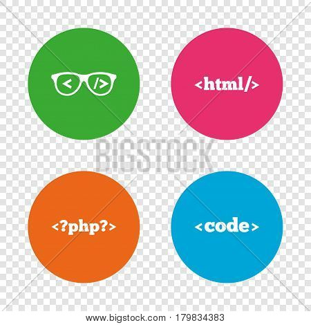 Programmer coder glasses icon. HTML markup language and PHP programming language sign symbols. Round buttons on transparent background. Vector