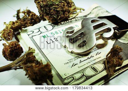 Marijuana On Money Close Up High Quality
