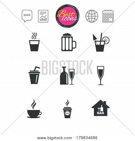 Chat speech bubble, report and calendar signs. Cocktail, beer icons. Coffee and tea drinks. Soft and alcohol drinks symbols. Classic simple flat web icons. Vector