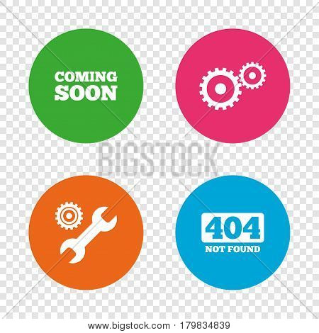 Coming soon icon. Repair service tool and gear symbols. Wrench sign. 404 Not found. Round buttons on transparent background. Vector