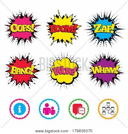 Comic Wow, Oops, Boom and Wham sound effects. Information sign. Group of people and database symbols. Chat speech bubbles sign. Communication icons. Zap speech bubbles in pop art. Vector