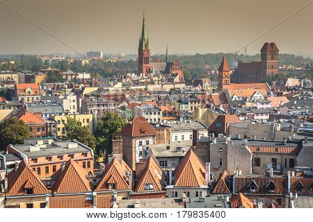 Old town skyline - aerial view from town hall tower. The medieval old town is a UNESCO World Heritage Site.