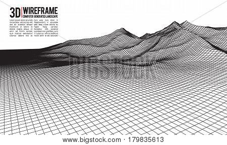 Abstract vector wireframe landscape background. Cyberspace grid. 3d technology wireframe vector illustration. Digital wireframe landscape