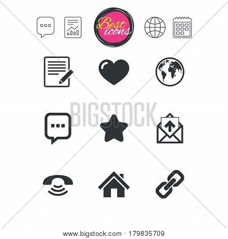 Chat speech bubble, report and calendar signs. Mail, contact icons. Favorite, like and internet signs. E-mail, chat message and phone call symbols. Classic simple flat web icons. Vector
