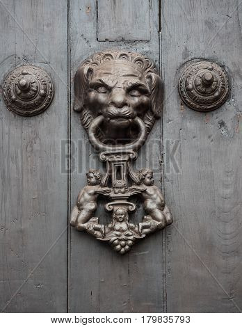 Detail of a vintage metal decorative door knob on a wooden door.