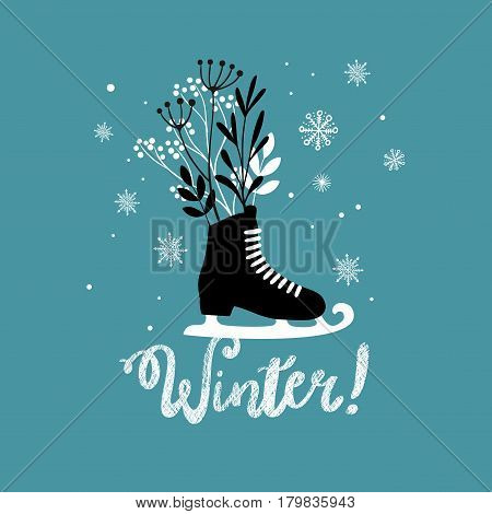 Doodle skates illustration. Creative vector print of winter time with frozen plants.