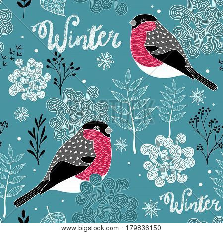 Seamless winter pattern of frozen forest and birds. Vector endless background.