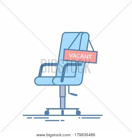 Comfortable office chair with a vacancy sign. Business hiring and recruiting abstract concept. Search for a new employee. Thin line vector illustration isolated on white background