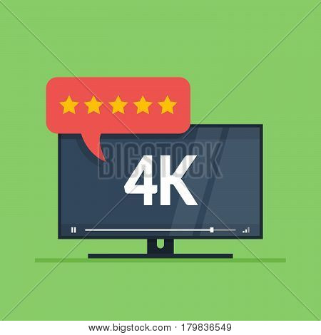 Flat screen tv with 4k Ultra HD video technology. User reviews in rating form with stars on speech bubble. Vector illustration isolated on green background