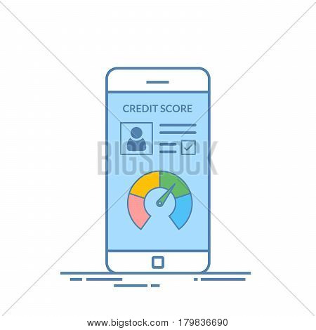 Smartphones with credit score app on the screen in line style. Financial information about the client. Vector illustration isolated on white background