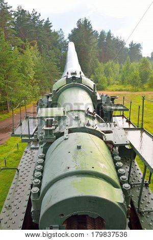 Old gun in old artillery batteries of Fort Krasnaya Gorka in Leningrad region Russia.