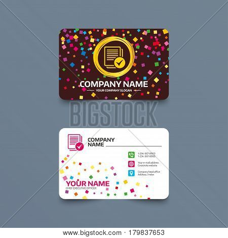 Business card template with confetti pieces. Text file sign icon. Check File document symbol. Phone, web and location icons. Visiting card  Vector