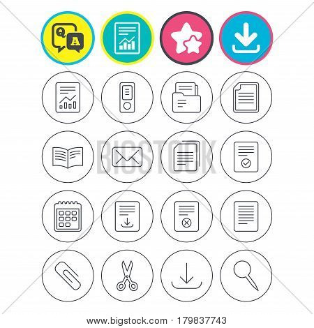 Report, download and star signs. Documents linear icons. Accounting, book and calendar symbols. Paper clip, scissors and download arrow thin outline signs. Mail envelope and file chart. Vector