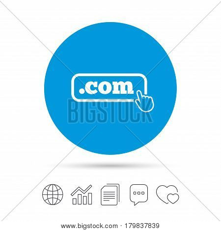 Domain COM sign icon. Top-level internet domain symbol with hand pointer. Copy files, chat speech bubble and chart web icons. Vector